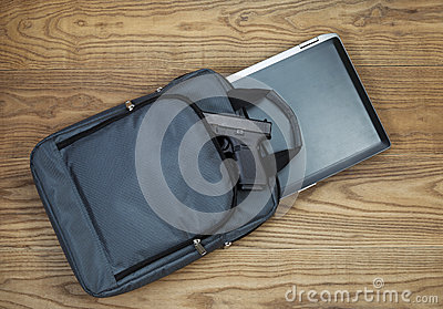 Personal weapon with Laptop computer and carry case