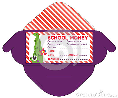 Personalized school money patches with teacher notes Vector Illustration