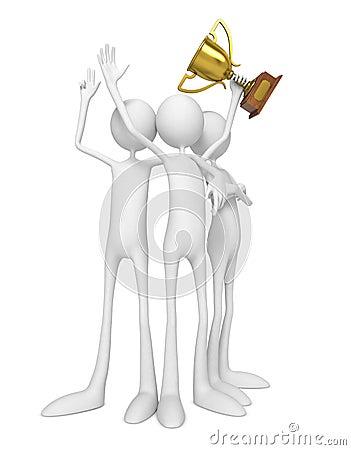 Personas de los ganadores que celebran con el trofeo.
