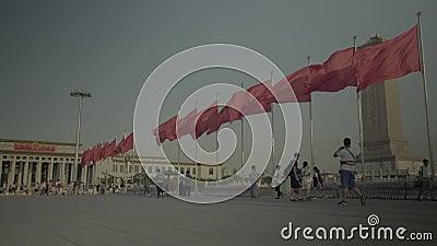 Personas en la Plaza Tiananmen.  Pekín. China. Asia metrajes