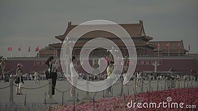 Personas en la Plaza Tiananmen Pekín China Asia almacen de metraje de vídeo