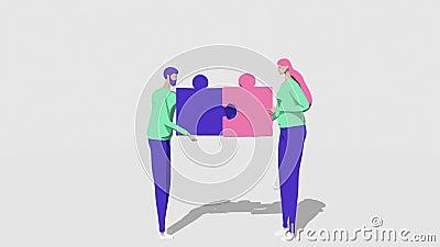 Personas, hombres y mujeres, se conocen y conectan rompecabezas Apoyo y concepto de ayuda del equipo de negocios de colaboración stock de ilustración
