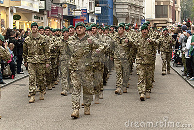 Personel from 3 Commando Brigade marching Editorial Stock Photo