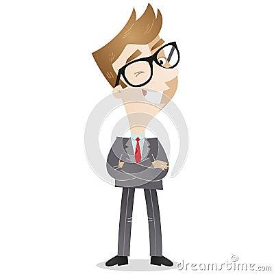 Personnage de dessin animé : Homme d affaires sûr