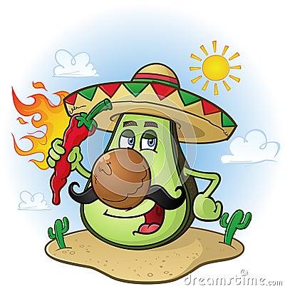 LES FRUITS COMMENÇANT PAR A Personnage-de-dessin-animé-mexicain-d-avocat-une-exploitation-chili-pepper-chaud-41047324