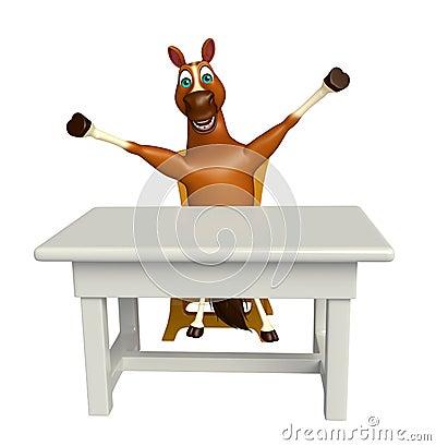 Personnage de dessin anim de cheval avec la table et la for Chaise 3d dessin