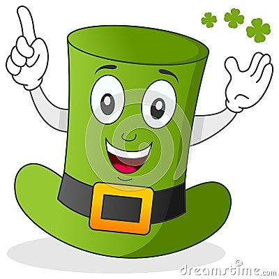 Personnage de dessin animé vert de chapeau