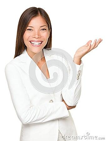 Personne d affaires faisant des gestes sur le fond blanc