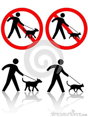Persons Walk Dog Cat Pet Animals