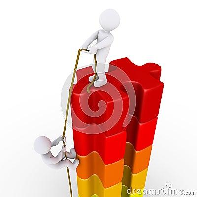 Persoon die een andere helpen om de bovenkant te bereiken