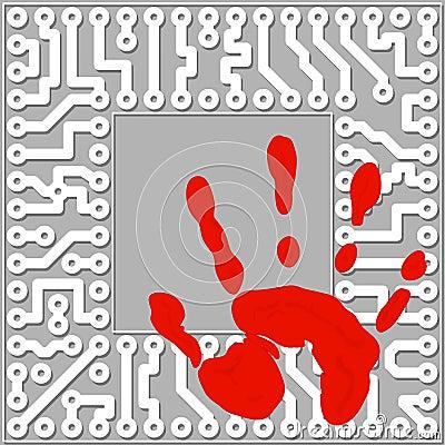 Persoonlijke identificatie door handprints. Computer te