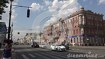 Perspectiva de Nevsky St Petersburg 4K almacen de metraje de vídeo