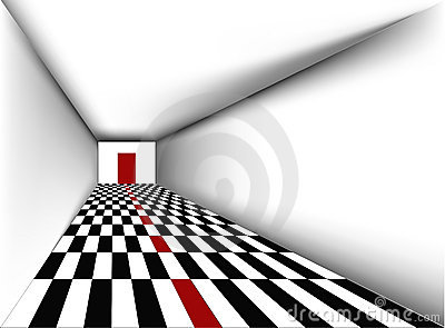 Perspective Empty room with door vector