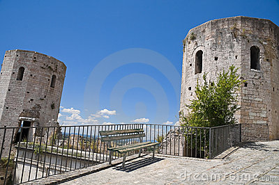 Perspective of Properzio Towers. Spello. Umbria.