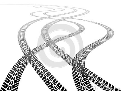 Perspective tyre tracks Vector Illustration