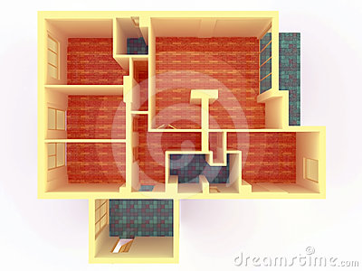 Perspective view of big apartment with walls from