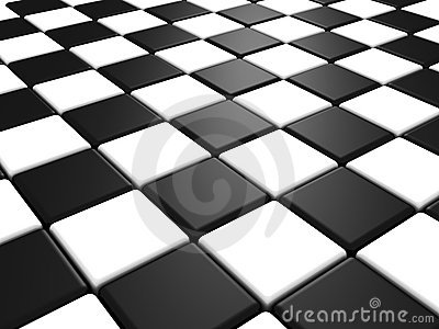 Perspective view of a chess or checker board
