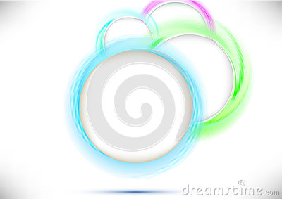 Perspective view with colorful circles