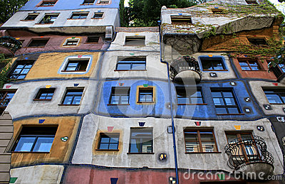 Perspective view of Hundertwasser house in Vienna Editorial Stock Photo