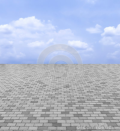 Free Perspective View Of Monotone Gray Brick Stone Street Road. Sidewalk, Pavement Texture Background With Blue Sky And Cloud Royalty Free Stock Photography - 67853507