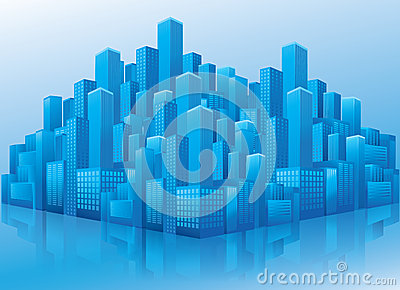 Perspektivsikt av blåa affärskontorsbyggnadar