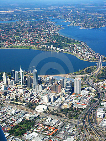 Free Perth City Aerial View 2 Stock Photography - 705602
