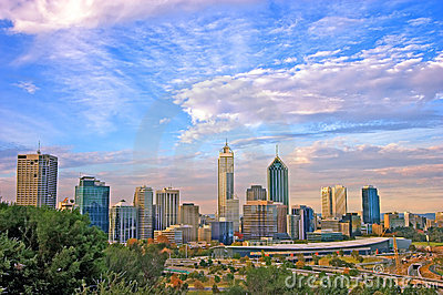 Perth city skyline and cityline framed by native bush