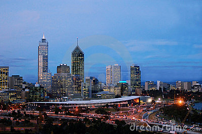Perth cityscape at dusk-peak hour traffic