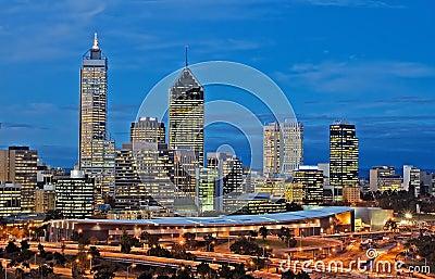 Perth cityscape at night