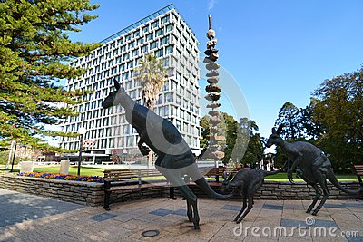 Wide Angle Shot Of Perth Council House With Bronze Kangaroos In The