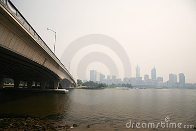 Perth covered in haze on 15 Dec 2009 Editorial Photography
