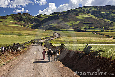 Peru - Countryside high in the Andes near Urubamba Editorial Stock Photo
