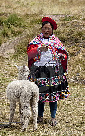 Peru - Local woman with Alpaca Editorial Photography