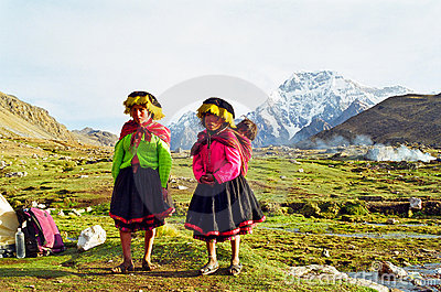 Peru Mountain Children Editorial Stock Image