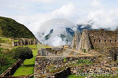 Peru, remote Inca ruins of Choquequirau near Cuzco