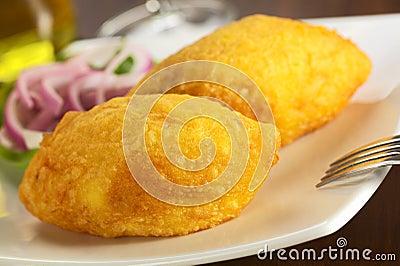 Peruvian Dish Called Papa Rellena (Stuffed Potato)