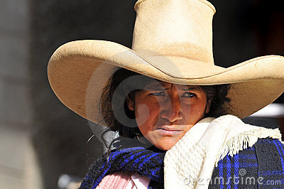 Peruvian indigenous woman in traditional clothing Editorial Stock Image