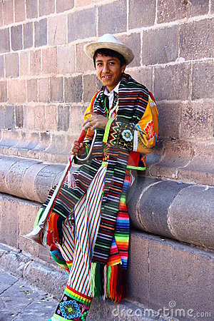 Peruvian teenage in Traditional Clothing Editorial Photo