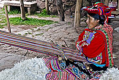 Peruvian woman weaving Editorial Photo