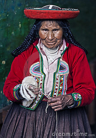 Peruvian woman weaving Editorial Image