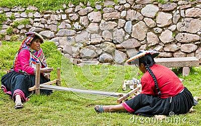 Peruvian women weaving Editorial Image