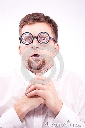 Free Pervert Nerd Looking At Imaginary Boobs Stock Image - 43059021