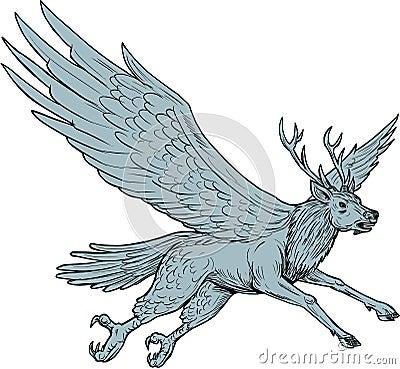 Peryton Flying Side Drawing Vector Illustration