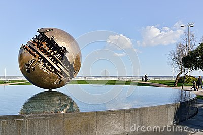 Pesaro and the Great Ball of A  Pomodoro Editorial Stock Image