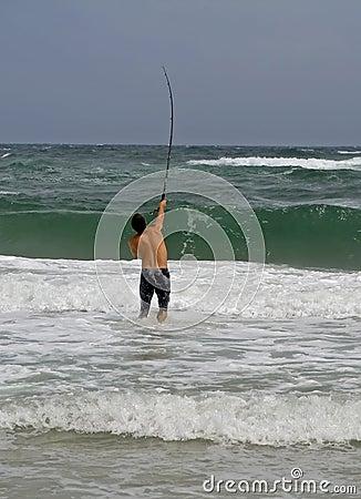 Pesca di spuma dell uomo
