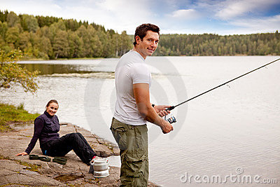 Pesca no desengate de acampamento