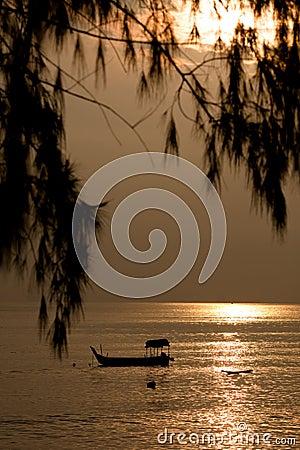 Pesca no mar dourado do nascer do sol