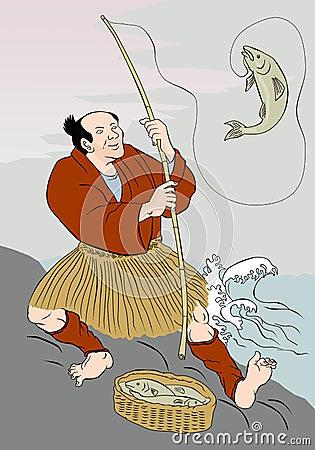 Pescados de cogida de la trucha de la pesca japonesa del pescador