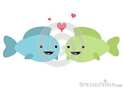 Pescados en la ilustración del amor