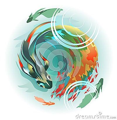 Pescados grandes con una cola multicolora larga